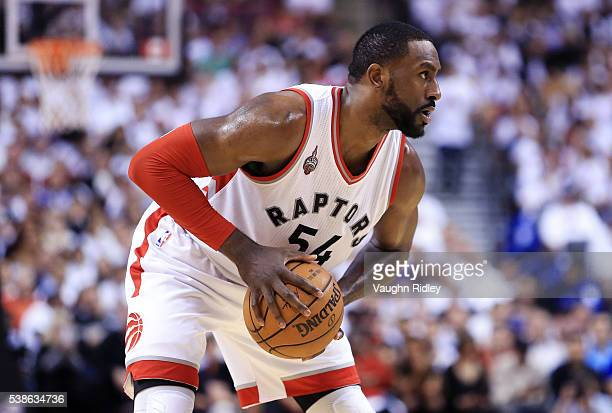 Patrick Patterson of the Toronto Raptors dribbles the ball in the second half of Game Four of the Eastern Conference Finals against the Cleveland...