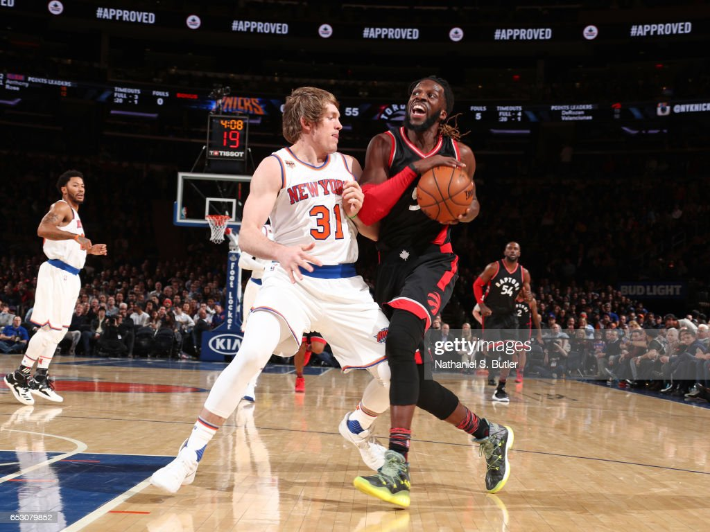 Patrick Patterson #54 of the Toronto Raptors drives to the basket against the New York Knicks on February 27, 2017 at Madison Square Garden in New York City.
