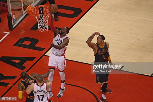 Patrick Patterson of the Toronto Raptors drives to the basket in Game Six of the NBA Eastern Conference Finals against the Cleveland Cavaliers at Air...