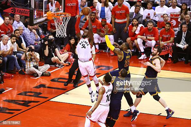 Patrick Patterson of the Toronto Raptors dunks the ball against the Cleveland Cavaliers during Game Six of the NBA Eastern Conference Finals at Air...