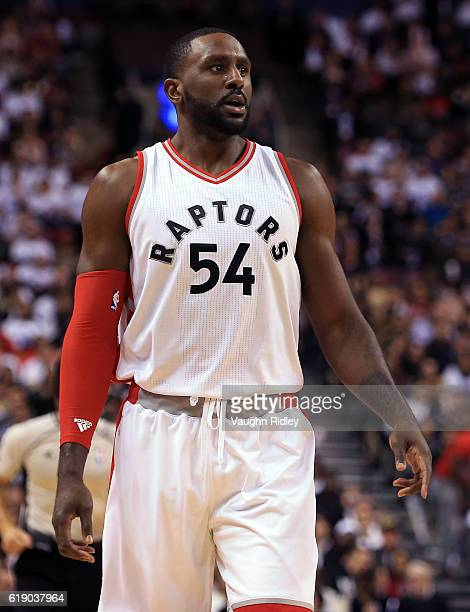 Patrick Patterson of the Toronto Raptors during an NBA game against the Detroit Pistons at Air Canada Centre on October 26 2016 in Toronto Canada...