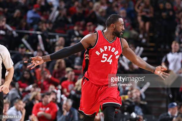 Patrick Patterson of the Toronto Raptors looks on after hitting a three pointer against the Portland Trail Blazers during the game on December 26...
