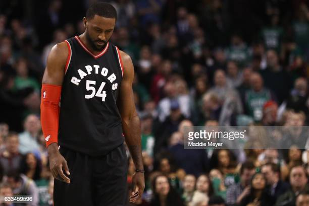 Patrick Patterson of the Toronto Raptors looks on during the fourth quarter against the Boston Celtics at TD Garden on February 1 2017 in Boston...
