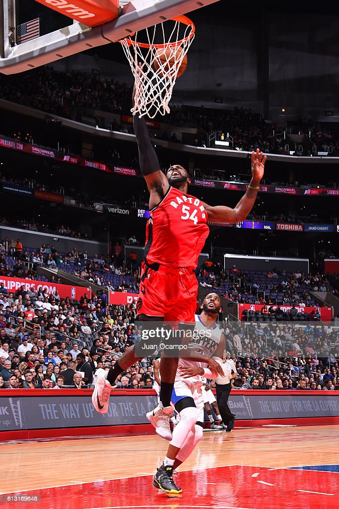 Patrick Patterson #54 of the Toronto Raptors shoots the ball against the Los Angeles Clippers on October 5, 2016 at STAPLES Center in Los Angeles, California.