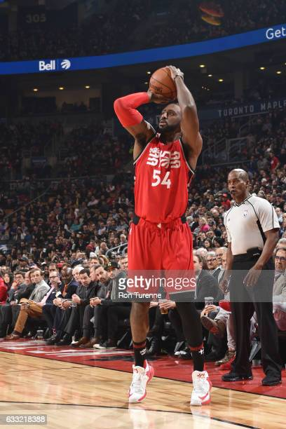 Patrick Patterson of the Toronto Raptors shoots the ball against the New Orleans Pelicans during the game on January 31 2017 at the Air Canada Centre...