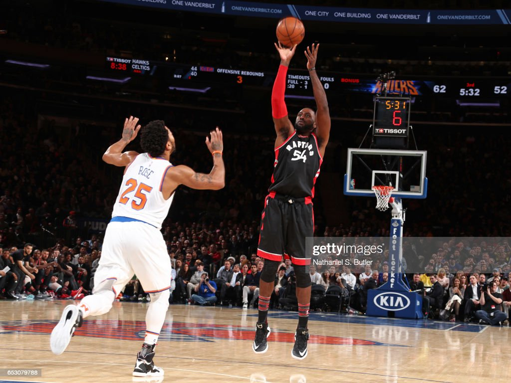 Patrick Patterson #54 of the Toronto Raptors shoots the ball against the New York Knicks on February 27, 2017 at Madison Square Garden in New York City.