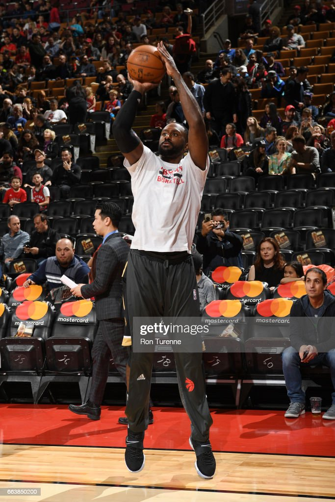Patrick Patterson #54 of the Toronto Raptors warms up before a game against the Philadelphia 76ers on April 2, 2017 at the Air Canada Centre in Toronto, Ontario, Canada.