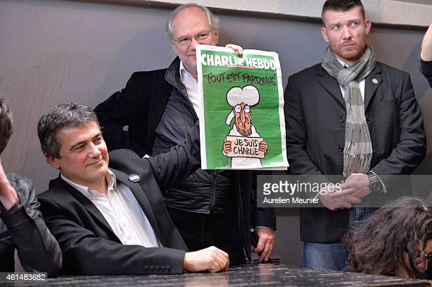 Patrick Pellous Charlie Hebdo journalist and President of Liberation Laurent Joffrin during the Charlie Hebdo press conference held at the Liberation...