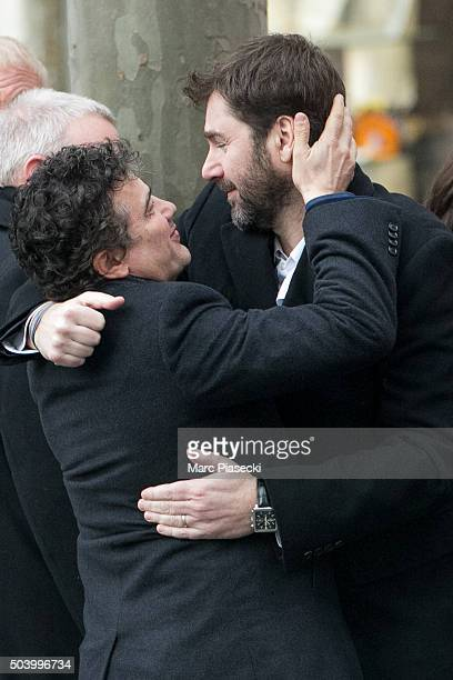 Patrick Pelloux arrives to attend the funeral of French singer Michel Delpech at Saint Sulpice church on January 8 2016 in Paris France