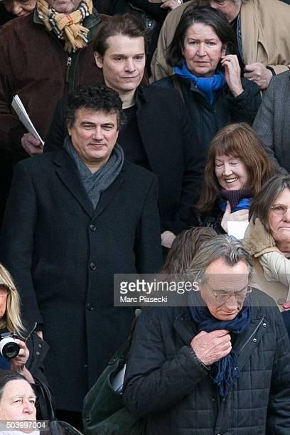 Patrick Pelloux Benabar and Philippe Lavil leave the funerals of french singer Michel Delpech at Saint Sulpice church on January 8 2016 in Paris...