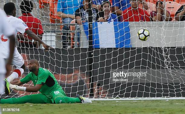 Patrick Pemberton of Costa Rica is beaten by Alphonso Davies of Canada for a goal in the in the first half at BBVA Compass Stadium on July 11, 2017...