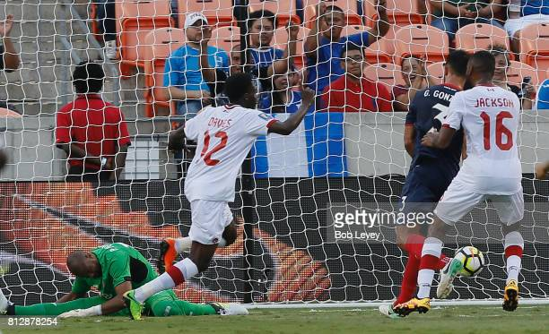 Patrick Pemberton of Costa Rica is beaten by Alphonso Davies of Canada for a goal in the in the first half at BBVA Compass Stadium on July 11 2017 in...