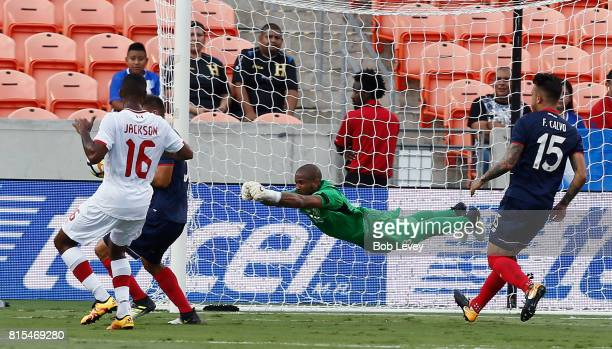 Patrick Pemberton of Costa Rica makes a diving save against Canada at BBVA Compass Stadium on July 11, 2017 in Houston, Texas.