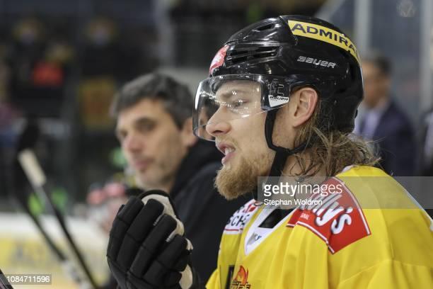 Patrick Peter of Vienna during the Vienna Capitals v EC VSV Erste Bank Eishockey Liga at Erste Bank Arena on January 18 2019 in Vienna Austria