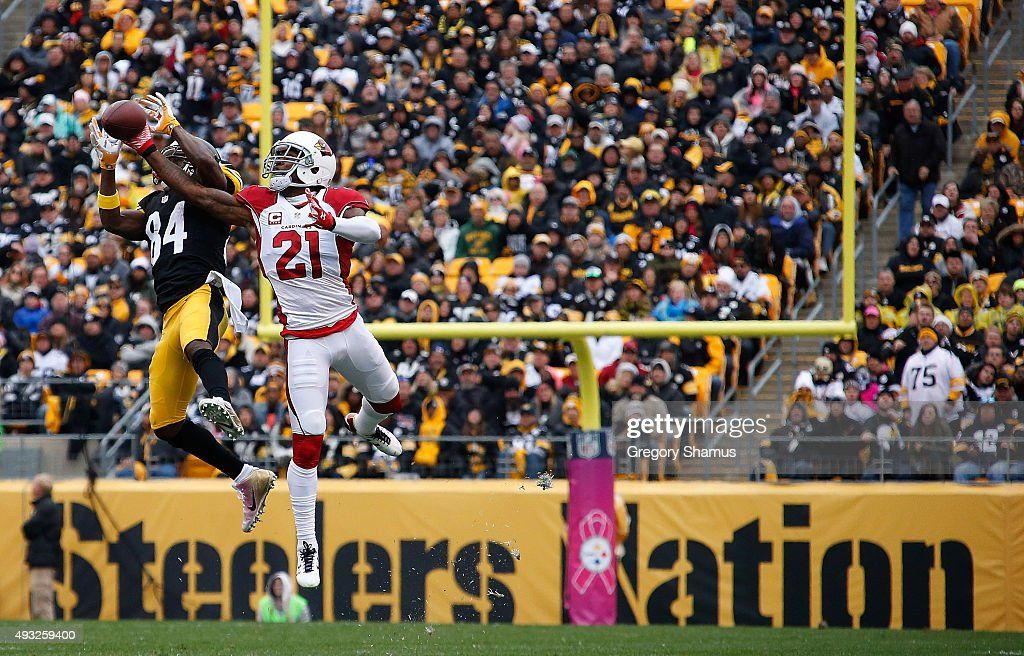Patrick Peterson #21 of the Arizona Cardinals defends a pass to Antonio Brown #84 of the Pittsburgh Steelers during the 1st half of the game at Heinz Field on October 18, 2015 in Pittsburgh, Pennsylvania.