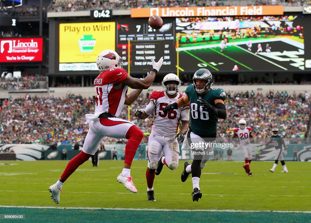 Patrick Peterson #41 of the Arizona Cardinals makes an interception against Zach Ertz #86 of the Philadelphia Eagles during the second quarter at Lincoln Financial Field on October 8, 2017 in Philadelphia, Pennsylvania.