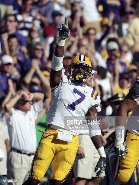 Patrick Peterson of the LSU Tigers reacts after making a stop against the Georgia Bulldogs during their football game at Tiger Stadium on October 25...