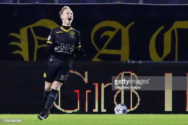 Patrick Pflucke of Roda JC celebrates 1-2 during the Dutch Keuken Kampioen Divisie match between NAC Breda v Roda JC at the Rat Verlegh Stadium on...