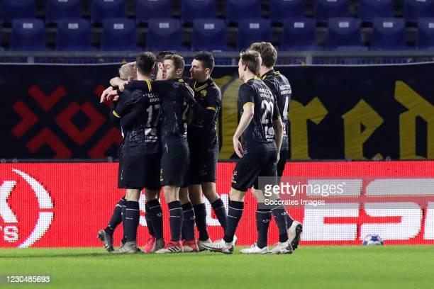 Patrick Pflucke of Roda JC celebrates 1-2 with Danny Bakker of Roda JC, Stefano Marzo of Roda JC, Xander Lambrix of Roda JC, Kees Luijckx of Roda JC...
