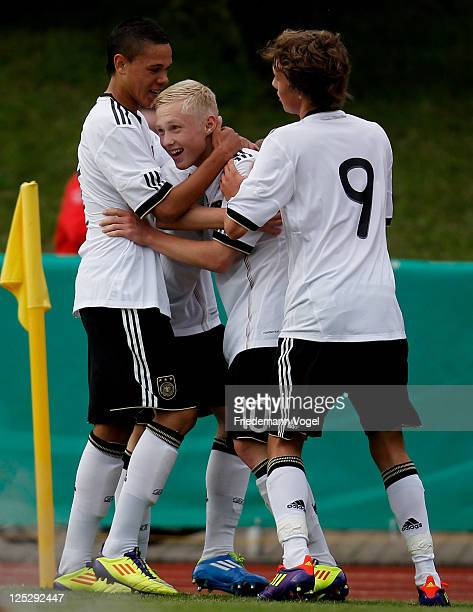 Patrick Pfluecke of Germany celebrates scoring the first goal with his team during international friendly match between the U16 teams of Germany and...