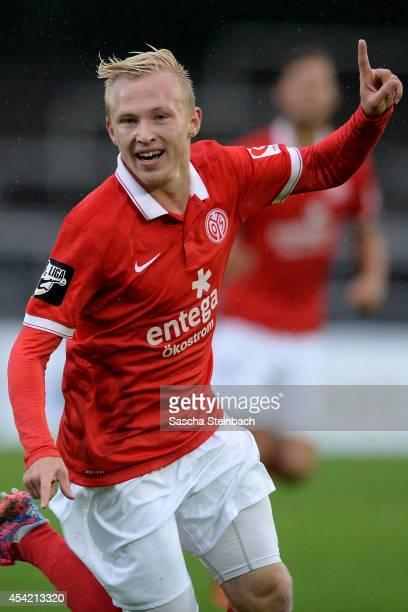 Patrick Pfluecke of Mainz celebrates after scoring the opening goal during the third league match between Borussia Dortmund II and 1 FSV Mainz 05 II...
