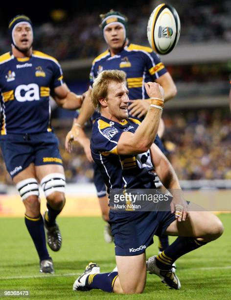 Patrick Phibbs of the Brumbies celebrates his try during the round nine Super 14 match between the Brumbies and the Cheetahs at Canberra Stadium on...
