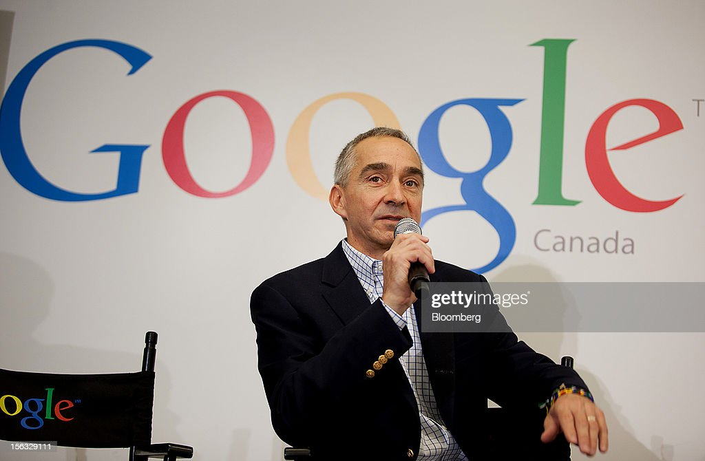 Patrick Pichette, chief financial officer of Google Inc., speaks to the press during a media tour for the grand opening of Google Inc.'s new office in Toronto, Ontario, Canada, on Tuesday, Nov. 13, 2012. The office space encompasses five color-coded floors and features amenities such as a pool table, video games, mini-golf putting greens and a camping lounge where employees can hold meetings in a tent. Photographer: Brett Gunlock/Bloomberg via Getty Images