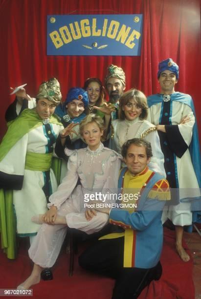 Patrick Poivre d'Arvor, Jacqueline Alexandre et d'autres journalistes au Gala de la Pretesse le 20 janvier 1984 a Paris, France.