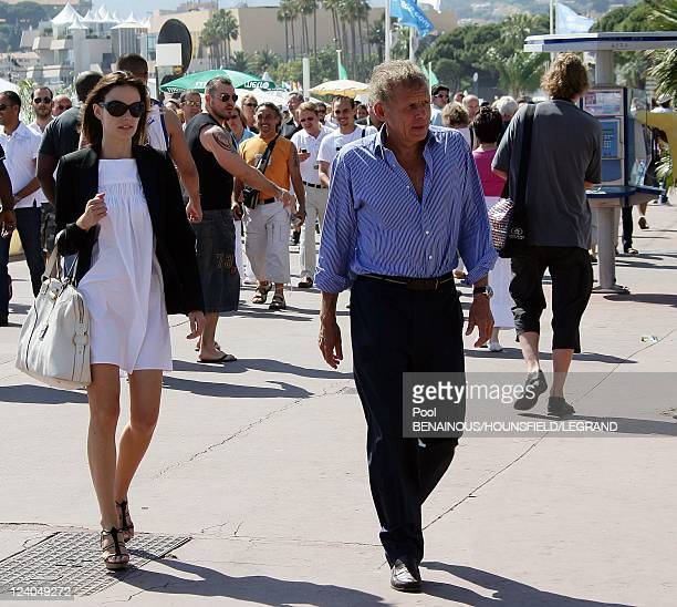 Patrick Poivre d'Arvor with friend Agathe Borne at the 60th Cannes International Festival in Cannes France on May 18 2007