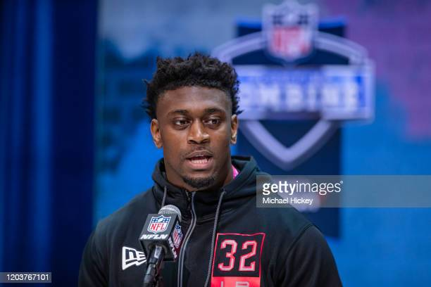 Patrick Queen #LB32 of the LSU Tigers speaks to the media on day three of the NFL Combine at Lucas Oil Stadium on February 27 2020 in Indianapolis...