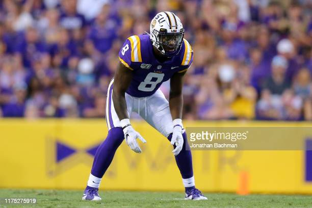 Patrick Queen of the LSU Tigers in action during a game against the Northwestern State Demons at Tiger Stadium on September 14 2019 in Baton Rouge...