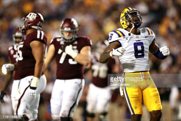 Patrick Queen of the LSU Tigers reacts after a play during a game against the Texas AM Aggies at Tiger Stadium on November 30 2019 in Baton Rouge...