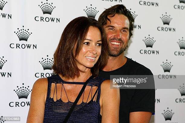 Patrick Rafter and Lara Feltham arrive at the 2012 Australian open Players Party at Crown Towers on January 15 2012 in Melbourne Australia