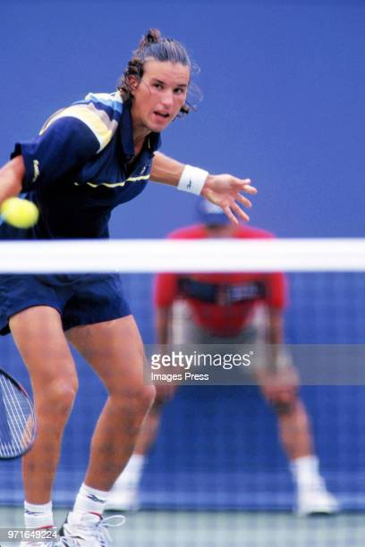 Patrick Rafter plays tennis at the US Open circa 1997 in New York City