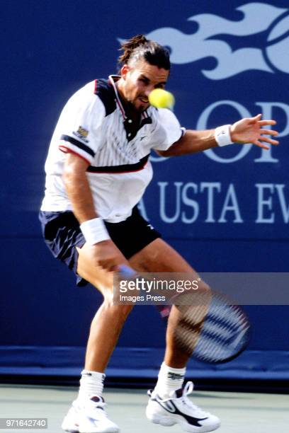 Patrick Rafter plays tennis at the US Open circa 1998 in New York City