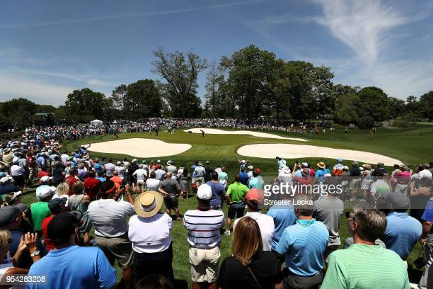 Patrick Reed attempts a putt on the first green during the first round of the 2018 Wells Fargo Championship at Quail Hollow Club on May 3 2018 in...