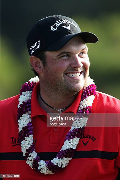 Patrick Reed celebrates after winning the final round of the Hyundai Tournament of Champions at Plantation Course at Kapalua Golf Club on January 12...