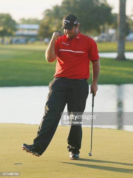 Patrick Reed celebrates his onestroke victory on the 18th green during the final round of the World Golf ChampionshipsCadillac Championship at Trump...