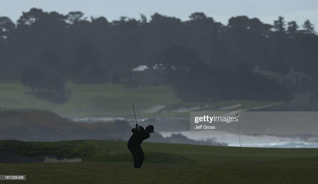 Patrick Reed hits a shot on the 13th hole during the third round of the AT&T Pebble Beach National Pro-Am at Monterey Peninsula Country Club on February 9, 2013 in Pebble Beach, California.