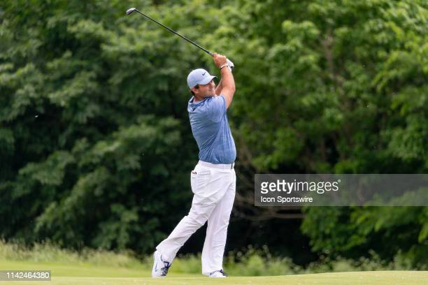 Patrick Reed hits his approach shot on the ninth fairway during the first round of the ATT Byron Nelson on May 9 2019 at Trinity Forest Golf Club in...