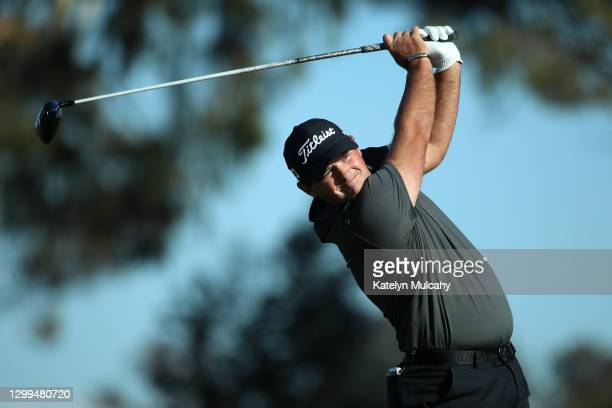 Patrick Reed hits his tee shot on the 2nd hole during round three of the Farmers Insurance Open at Torrey Pines South on January 30, 2021 in San...