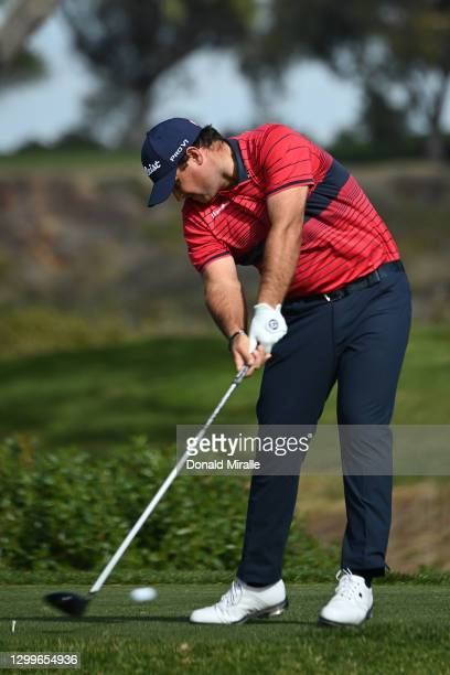 Patrick Reed hits his tee shot on the 5th hole during the final round of the Farmers Insurance Open at Torrey Pines South on January 31, 2021 in San...
