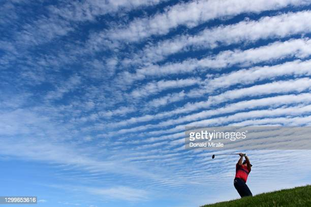 Patrick Reed hits his tee shot on the 6th hole during the final round of the Farmers Insurance Open at Torrey Pines South on January 31, 2021 in San...