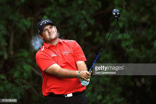 Patrick Reed hits off the third tee during the final round of the Valspar Championship at Innisbrook Resort Copperhead Course on March 13 2016 in...