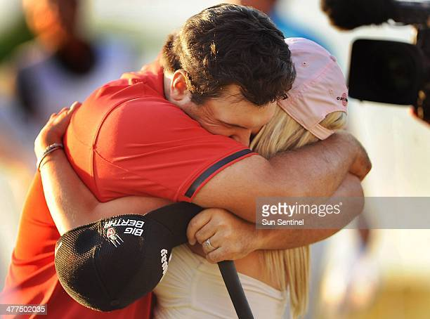 Patrick Reed hugs his wife Justine after winning the WGCCadillac Championship at Trump National Doral on Sunday March 9 in Doral Fla