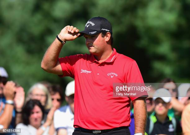 Patrick Reed of the United States acknowledges the applause of the crowd on the 1st tee during the Porsche European Open Day Four at Green Eagle Golf...