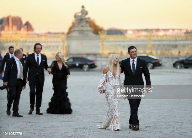 Patrick Reed of the United States and his wife Justine Reed arrive for the Ryder Cup gala dinner at the Palace of Versailles ahead of the 2018 Ryder...