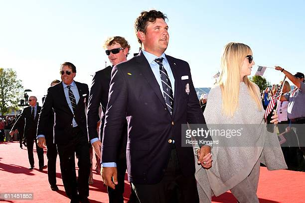 Patrick Reed of the United States and Justine Reed attend during the 2016 Ryder Cup Opening Ceremony at Hazeltine National Golf Club on September 29...