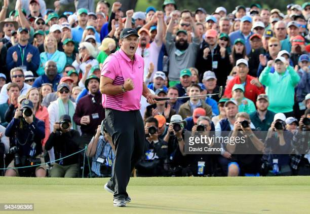 Patrick Reed of the United States celebrates after making par 18th green during the final round to win the 2018 Masters Tournament at Augusta...