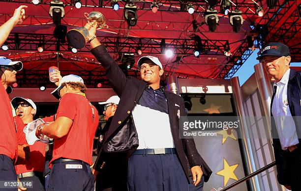 Patrick Reed of the United States celebrates during the closing ceremony of the 2016 Ryder Cup at Hazeltine National Golf Club on October 2 2016 in...